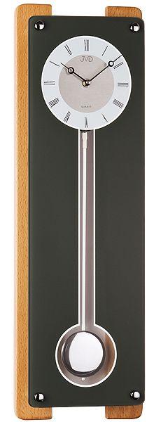 Luxusní skleněné kyvadlové černé hodiny JVD quartz N12032.68 (POŠTOVNÉ ZDARMA!!)