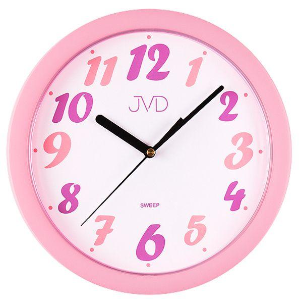 Růžové dětské nástěnné hodiny JVD sweep HP612.21