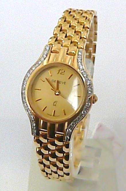 Luxusní zlaté dámské hodinky GENEVE 585/30,7 gr s briliantovými routy
