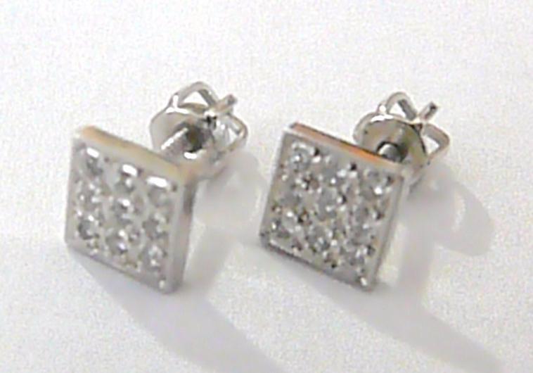 Luxusní diamantové zlaté náušnice z bílého zlata - pecičky 585/1,61 gr