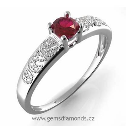 Zlatý GEMS prsten s diamanty, almandýn, bílé zlato, Johana 386-0308