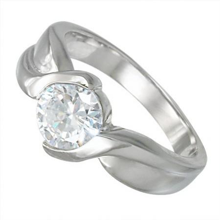 Luxusní moderní ocelový prsten z chirurgické oceli 316L se zirkonem 212194/17