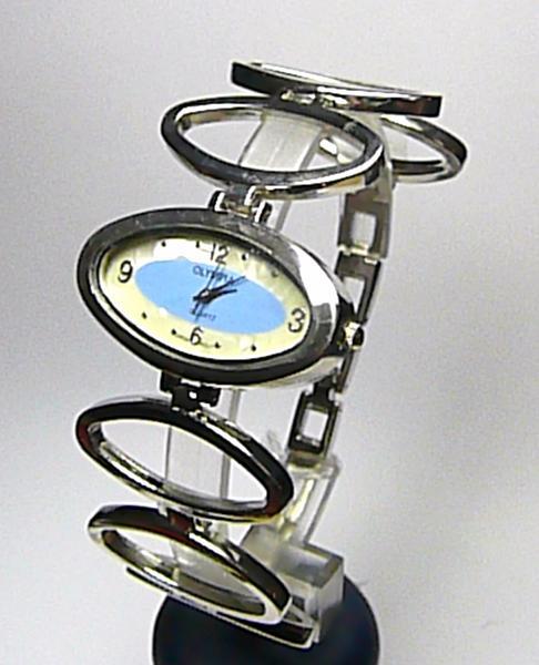 Dámské moderní stříbrné modré hodinky Olympia 50258