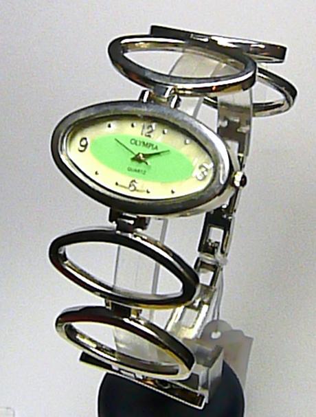 Dámské moderní stříbrné zelené hodinky Olympia 50259
