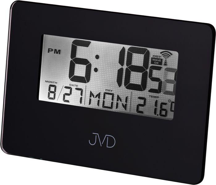 Černý luxusní digitální rádiem řízený budík JVD RB995