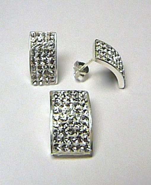 Luxusní stříbrná souprava Swarovski - čiré zirkony (náušnice + přívěsek)