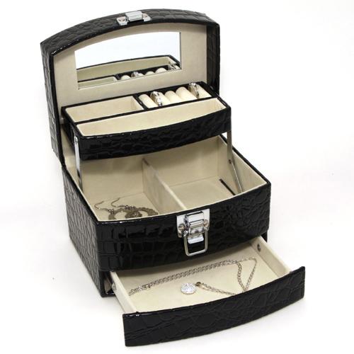 Luxusní černá šperkovnice JKBox Black SP300-A25