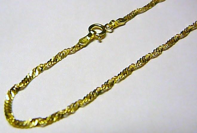 Dámský točený (kroucený) zlatý řetízek TWIST ze žlutého AU 585/1,03gr 42cm H072