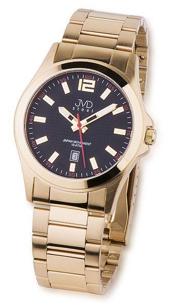 Ocelové zlacené náramkové hodinky JVD steel J1041.7 10ATM