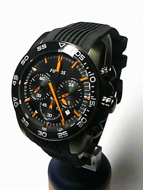 Černé ocelové chronograf pánské hodinky Foibos 1M78 s oranžovými rafičkami