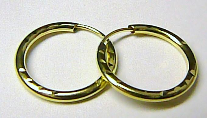 Luxusní zlaté kruhy ze žlutého zlata 585/0,55gr (silné zlaté kroužky 18mm) T046