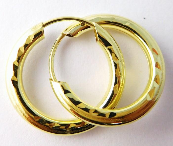 Mohutné zlaté kruhy - průměr 15mm 585/0,55gr T007 (gravírované)