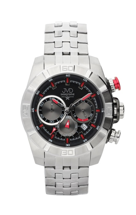 Ocelové červené chronografy hodinky JVD seaplane JS28.2 - 10ATM (POŠTOVNÉ ZDARMA!!!)