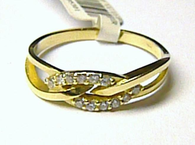 Luxusní zlatý prsten se zirkony (12 ks) vel. 57 585/1,75 gr P020