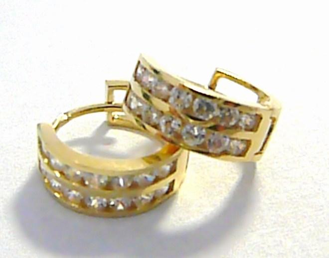 Mohutné plné zlaté kruhy poseté zirkony - zlaté kroužky 585/1,70gr P024