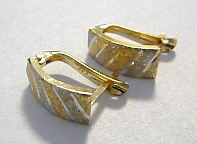 Dvoubarevné zlaté náušnice z bílého a žlutého zlata - matování 585/1,35gr P028