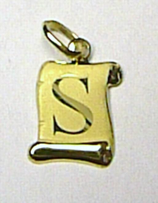 Zlatý přívěsek - zlaté písmenko S na pergamenu 0,4gr T037