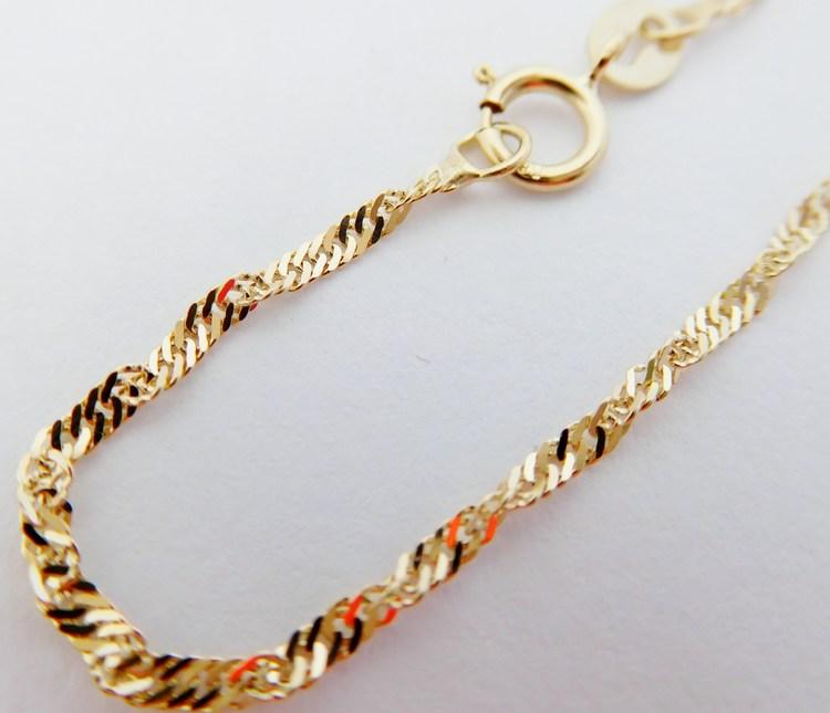 Luxusní pevný široký cca 2mm zlatý řetízek TWIST 50cm/1,16gr H031