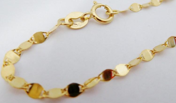 Luxusní ploškový zlatý řetízek ze žlutého zlata 45cm/1,39gr H046