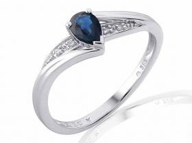 Zásnubní prsten z bílého zlata s modrým safírem a diamanty (4ks) 585/2,0gr V.53 (3861949-0-53-92)