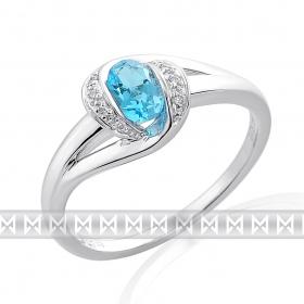 Diamantový prstýnek z bílého zlata se světle modrým topazem 585/2,85gr vel. lib.