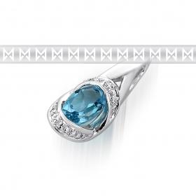 Diamantový přívěsek z bílého zlata s diamanty a světle modrým topazem 585/1,15gr (3870712-0-0-93)