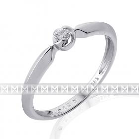 Luxusní zásnubní prsten s diamantem, bílé zlato brilianty (3861817-0-51-99)