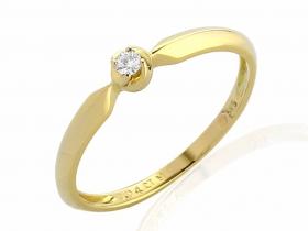 Zásnubní prsten s diamantem, žluté zlato brilianty (3811819-0-57-99)