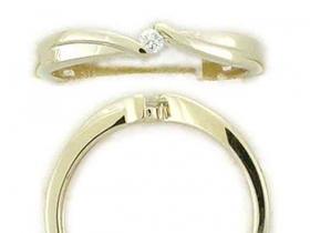 Zásnubní prsten s diamantem, žluté zlato brilianty (3810011-0-57-99)