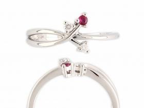 Prsten s diamantem, bílé zlato briliant, červený rubín (3861049-0-53-94)