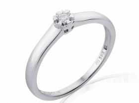 Zásnubní prsten s diamantem, bílé zlato brilianty (3861829-0-52-99)