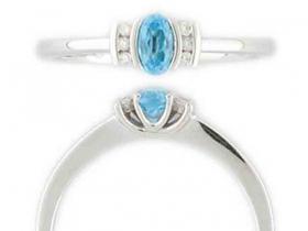 Prsten s diamantem, bílé zlato briliant, modrý topaz (blue topaz) (3860461-0-53-93)