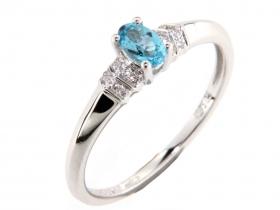 Prsten s diamantem, bílé zlato briliant, modrý topaz (blue topaz) (3861138-0-53-93)