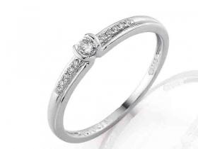 Zásnubní prsten s diamantem, bílé zlato brilianty (3860829-0-52-99)