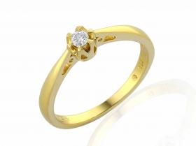 Zásnubní prsten s diamantem, žluté zlato brilianty (3811313-0-55-99)