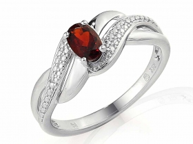 Prsten s diamantem, bílé zlato briliant, granát