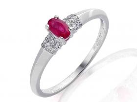 Prsten s diamantem, bílé zlato briliant, rubín (3861137-0-57-94)