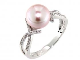 Prsten s diamantem, bílé zlato briliant, opál