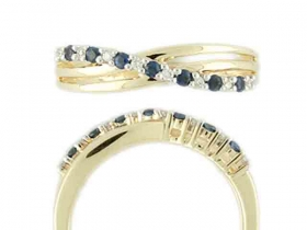 Prsten s diamantem, žluté zlato briliant, safír v kombinaci s lesklou bílou povr (3810491-5-53-92)