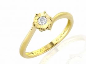 Zásnubní prsten s diamantem, žluté zlato brilianty (3811330-0-54-99)