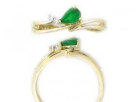 Prsten s diamantem, žluté zlato briliant, smaragd (emerald) (3810285-0-54-96)