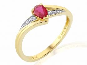 Prsten s diamantem, žluté zlato briliant, rubín v kombinaci s lesklou bílou povr (3811952-5-54-94)
