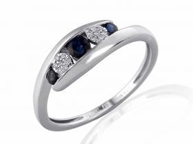 Prsten s diamantem, bílé zlato briliant, safír (3861965-0-54-92)