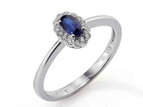 Prsten s diamantem, bílé zlato briliant, safír (3861083-0-53-92)