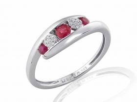 Prsten s diamantem, bílé zlato briliant, červený rubín (3861968-0-53-94)