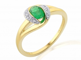 Prsten s diamantem, žluté zlato briliant, smaragd (emerald) v kombinaci s lesklo (3811936-5-57-96)