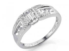 Prsten s diamantem, bílé zlato briliant, černý briliant