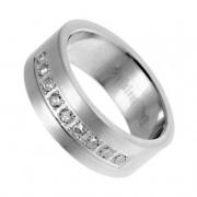 Ocelový prsten se zirkony z chirurgické oceli 316L 212129/19