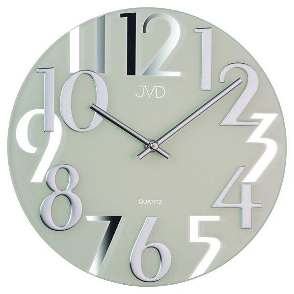 Luxusní moderní zrcadlové bílé hodiny JVD design HT101.1