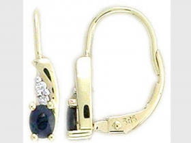 Diamantové náušnice, žluté zlato briliant, modrý safír 585/1,95 gr (3830056-5-0-92)